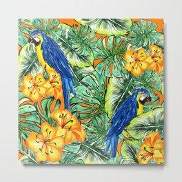 Tropical Pattern Parrots Metal Print