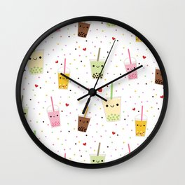 Colorful Happy Bubble Tea Wall Clock