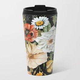 Wildflower Bouquet on Charcoal Metal Travel Mug