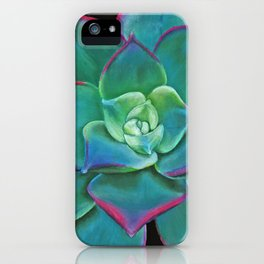 Vibrant Aqua Succulent Plant iPhone Case