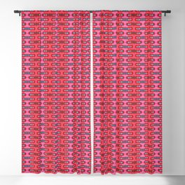 Red Crepe & Paisley Bars Blackout Curtain