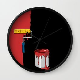 Facade Painting Red Wall Wall Clock