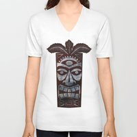 tiki V-neck T-shirts featuring Tiki arg by Georgina Dominguez