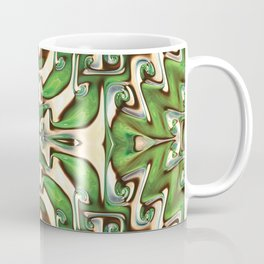 Green and Cream Spiral Bends Coffee Mug