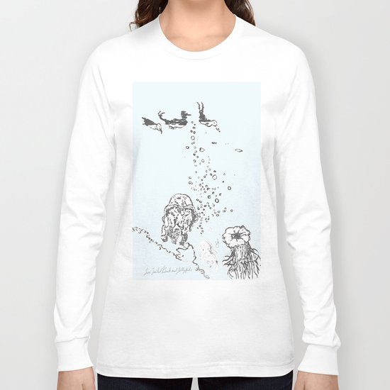 Two Tailed Duck and Jellyfish Pale Blue Long Sleeve T-shirt