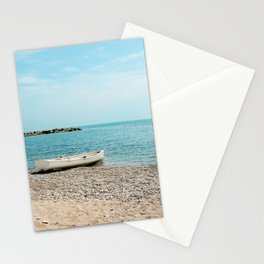 AFE White Boat, Beach Photography Stationery Cards