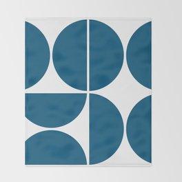 Mid Century Modern Blue Square Throw Blanket