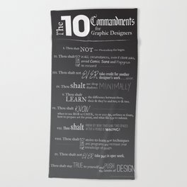The 10 Commandments for Graphic Designers Beach Towel