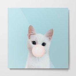 Bubble gum cat in blue Metal Print