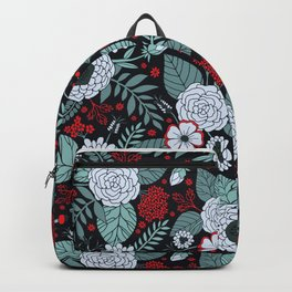 Red, Gray, Aqua & Navy Blue Floral/Botanical Pattern Backpack