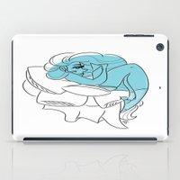 bookworm iPad Cases featuring Blue Bookworm  by Wynne Gettelfinger