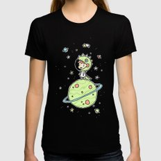 Space Dinosaur Womens Fitted Tee X-LARGE Black
