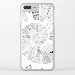black and white city spiral digital painting Clear iPhone Case