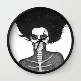 Black and White Galaxy Skull Girl Wall Clock