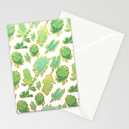 Green and gold australian native floral print Stationery Cards