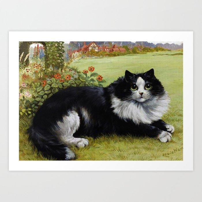 Black & White Kitty - Louis Wain Cats Art Print