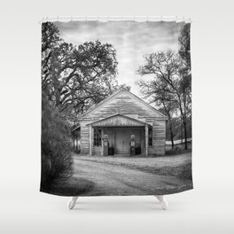 Out Of Gas - Black And White Shower Curtain