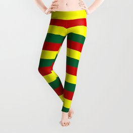red green yellow stripes Leggings