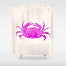 Nautical Pink Crab Linen Shower Curtain