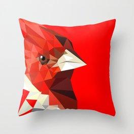 Cardinal bird Geometric bird art Red Nature Throw Pillow