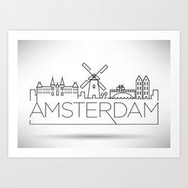 Linear Amsterdam Skyline Design Art Print