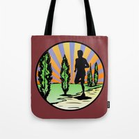 running Tote Bags featuring Running by Paul Simms