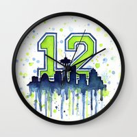 seahawks Wall Clocks featuring Seattle 12th Man Art Skyline Watercolor  by Olechka