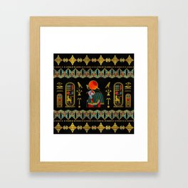 Egyptian Horus Ornament in colored glass and gold Framed Art Print