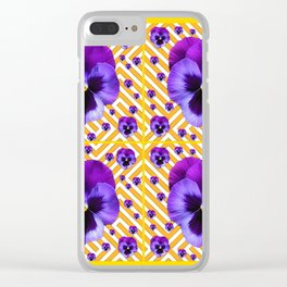 PURPLE PANSIES  FLOWERS & YELLOW PATTERNS  ART Clear iPhone Case