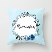ravenclaw Throw Pillows featuring HP Ravenclaw in Watercolor  by Snazzy Sisters