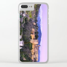 La Alhambra, Sierra Nevada and Granada. At pink sunset Clear iPhone Case