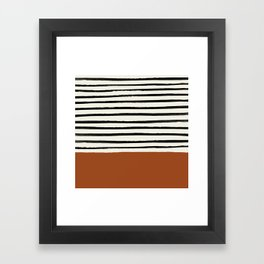 Burnt Orange x Stripes Framed Art Print