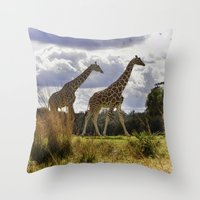 giraffes Throw Pillows featuring Giraffes by Photography by Terrance