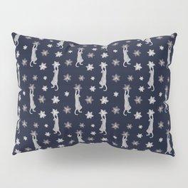 Cats Climbing Flowers Navy Blue Pillow Sham