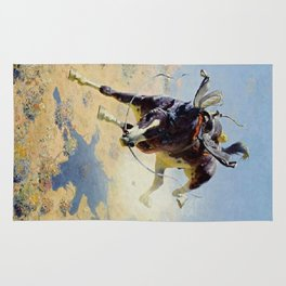 "William Leigh Western Art ""A Fighting Cyclone"" Rug"
