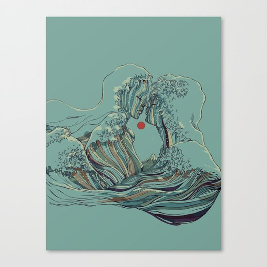 Kissing The Wave Canvas Print