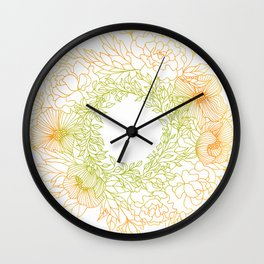 Tangerine and Olive Flowery Linocut Wreath Wall Clock