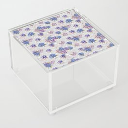 Hydrangeas and French Script with birds on gray background Acrylic Box