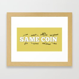 Same Coin - Yellow Framed Art Print