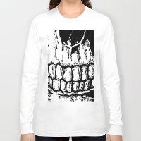 teeth Long Sleeve T-shirts featuring Teeth by Mike Hague Prints