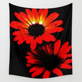 Red and Black Flowers Wall Tapestry
