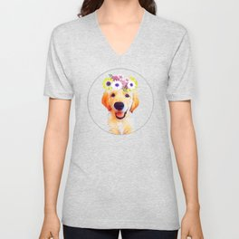 Cute puppy with flowers Unisex V-Neck
