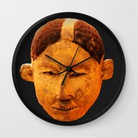 mask Wall Clocks featuring MAsk by Sébastien BOUVIER