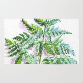 Fern leaf (watercolor on textured background) Rug