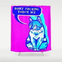 kitty Shower Curtains featuring Kitty by Gabrielle Wall