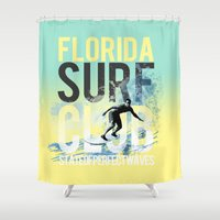 surf Shower Curtains featuring surf by ulas okuyucu