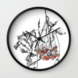 rowan branch with dried leaves and berries Wall Clock