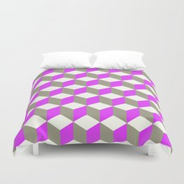 Diamond Repeating Pattern In Ultra Violet Purple and Grey Duvet Cover