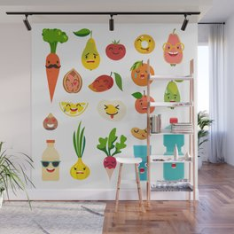 Emoticons food vector set. Cute funny stickers Wall Mural