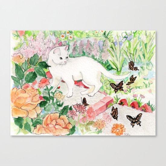 White Cat in a Garden Canvas Print
